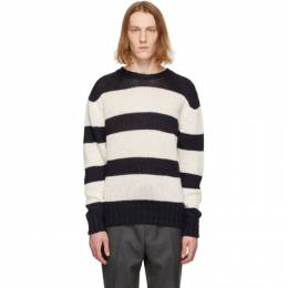 Officine Generale White and Navy Marco Sweater S21MKNT304PRE