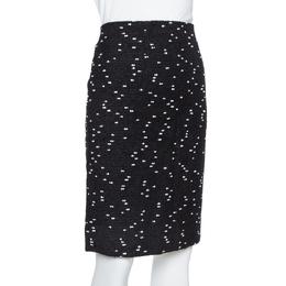 Oscar De La Renta Monochrome Tweed Fitted Short Skirt M 386250
