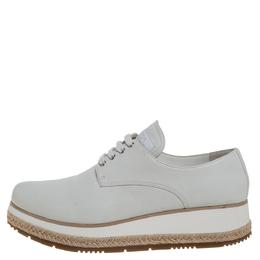 Prada Sport Light Grey Leather Espadrille Derby Sneakers Size 36 386654