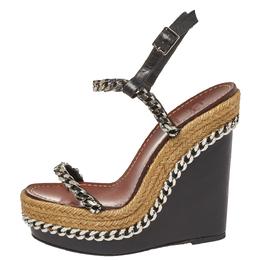 Christian Louboutin Black Leather Macarena Slingback Espadrilles Size 37 386647