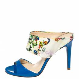 Loriblu Blue/White Floral Printed Patent Leather Slide Sandals Size 36 387055