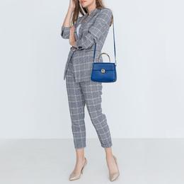 Aigner Blue Embossed Leather Genoveva Top Handle Bag 385374