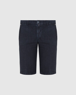 Темно-синие шорты из льна Kiton 2300006609817