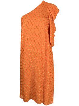L'Autre Chose платье на одно плечо с узором в горох B2511016030U400