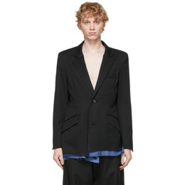 Sulvam Black Wool Layered Blazer SN-J01-100
