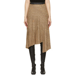System Beige and Brown Asymmetric Pleat Skirt SY2B1-WSCT01WP