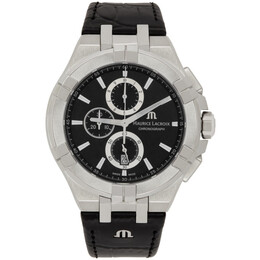 Maurice Lacroix Silver and Black AIKON Chronograph 44mm Watch AI1018-SS001-330-1