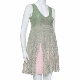 Dior Green & Pink Lurex Knit Flared Tent Dress S 384594