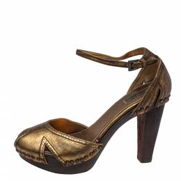 Prada Gold Leather Peep Toe Ankle Strap Platform Sandals Size 38 387803