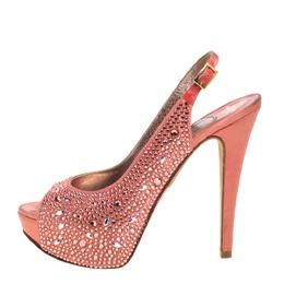 Gina Pink Satin Crystal Embellished Platform Peep Toe Slingback Sandals Size 37.5 387032
