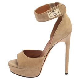 Givenchy Beige Suede Platform Ankle Wrap Sandals Size 35 387596