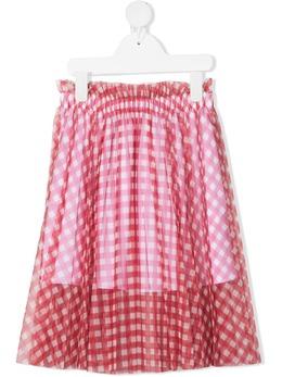 Philosophy Di Lorenzo Serafini Kids юбка миди в клетку гингем PJGO42WH203