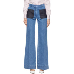 Victoria Beckham Blue Patch Pocket Jeans 1121DJE002268B