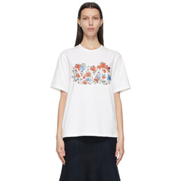 Victoria, Victoria Beckham White Embroidered Floral Logo T-Shirt 2121JTS002408A