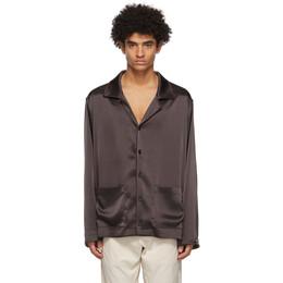 Nanushka Brown Satin PJ Shirt NM21RSSH00778