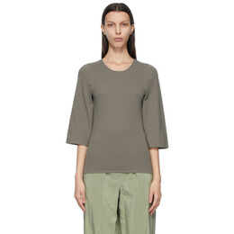 Lemaire Grey Crepe Jersey Three-Quarter Sleeve T-Shirt W 211 JE419 LJ054