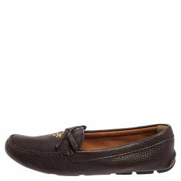 Prada Brown Leather Bow Loafers Size 38 387327