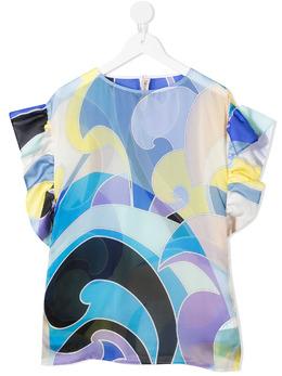 Emilio Pucci Junior блузка с абстрактным принтом и короткими рукавами 9O1243OD450