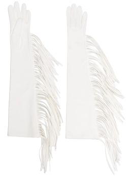 Manokhi длинные перчатки с бахромой SS21MANO131A852LONGFRINGESWHITE