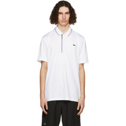 Lacoste White and Navy Sport Signature Breathable Golf Polo DH6843-52