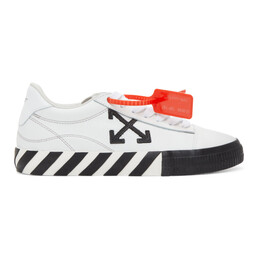 Off-White White and Black Leather Vulcanized Low Sneakers OWIA178R21LEA0020110