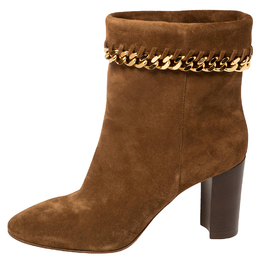 Casadei Brown Suede Renna Chain Trim Ankle Boots Size 40 387927