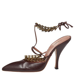Alaia Burgundy Leather Ankle Strap Pumps Size 39 382893