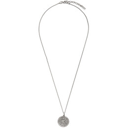 Saint Laurent Silver Medallion Pendant Necklace 650114 Y1500