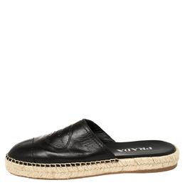 Prada Black Leather Logo Embossed Espadrille Flat Slides Size 37 388716