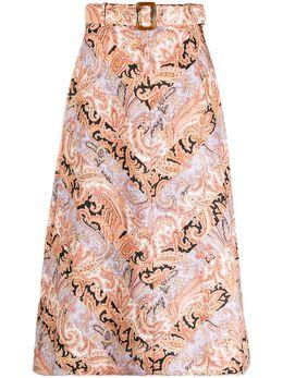 Zimmermann юбка А-силуэта с принтом пейсли 1094SBOT