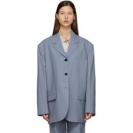 Acne Studios Blue and Navy Wool Pinstripe Suit Blazer AH0135-