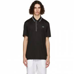 Lacoste Black and White Sport Signature Breathable Golf Polo DH6843-52