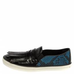Burberry Black/Blue Leather And Canvas Fringe Penny Slip On Sneakers Size 39 389718