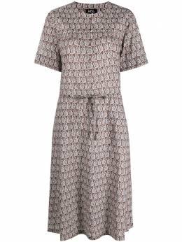 A.P.C. платье с поясом и принтом пейсли F05895COEML