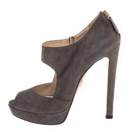 Prada Dark Grey Suede Peep Toe Platform Sandals Size 40 390070