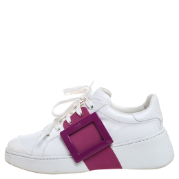 Roger Vivier White/Pink Leather And Rubber Viv Skate Sneakers Size 37 390108