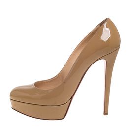 Christian Louboutin Beige Patent Leather Bianca Pumps Size 40.5 385456