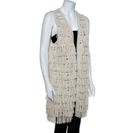 Alice + Olivia Cream Crochet Knit Fringed Open Front Weiss Vest M 387667