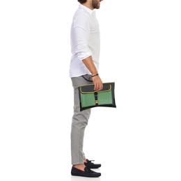 Bottega Veneta Multicolor Intrecciato Leather and Canvas Front Pocket Zip Clutch 390219