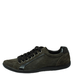 Prada Sport Green Suede Lace Up Sneakers Size 41.5 390492