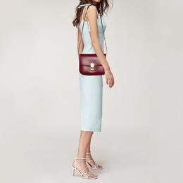 Celine Red Leather Medium Classic Box Shoulder Bag 388156