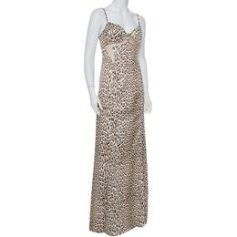 Just Cavalli Beige Animal Printed Satin Mesh Detail Maxi Dress L 389972