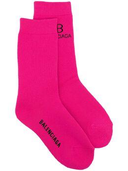 Balenciaga носки вязки интарсия с логотипом 6406103A4B5