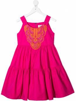 Alberta Ferretti Kids расклешенное платье с вышивкой в технике макраме 027810