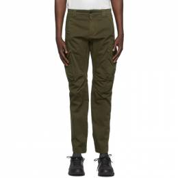 C.P. Company Green Stretch Sateen Garment-Dyed Utility Cargo Pants 10CMPA152A-005694G