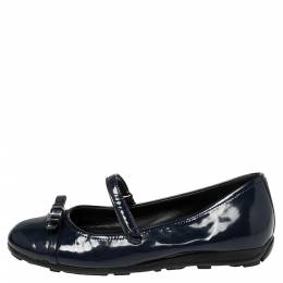 Prada Sport Blue Patent Leather Mary Jane Bow Ballet Flats Size 35 390673
