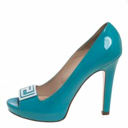 Versace Sky Blue Patent Leather Slip On Peep Toe Platform Pumps Size 41 390638