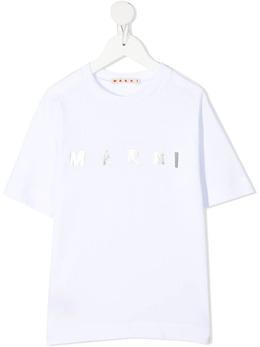 Marni Kids футболка с логотипом металлик M00031M00C70M100