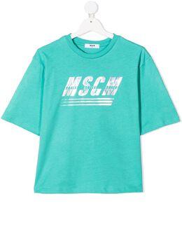 MSGM Kids футболка с логотипом металлик MS027072T