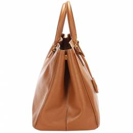 Prada Brown Leather Galleria Tote Bag 383349
